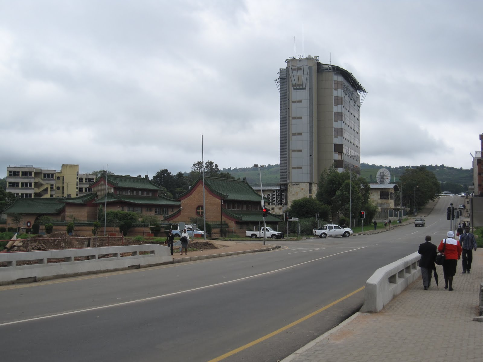 Mbabane, Swaziland's capital, Taiwan's mission on the left, the towering US Embassy on the right